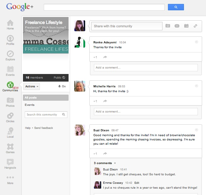 Google+ Communities – Two new communities for UK bloggers and freelancers