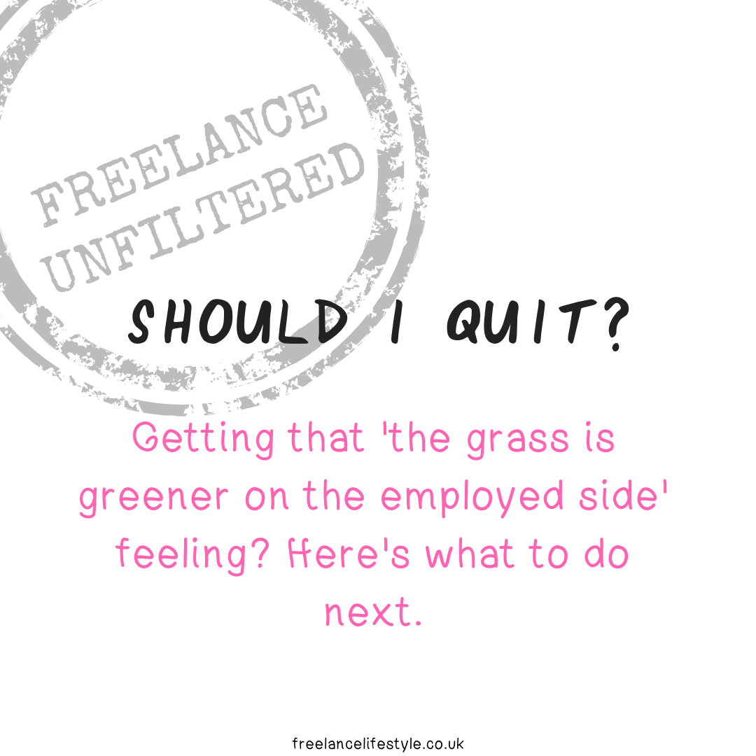 Getting that 'the grass is greener on the employed side' feeling?